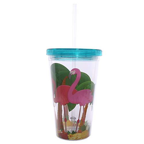 Doppelwandiger Trinkbecher mit Strohhalm Flamingo