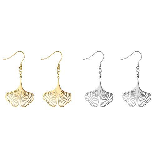 JewelryWe Bijoux 2PCs Boucles d oreilles Femme Pendentif Ginkgo Biloba Acier Inoxydable Couleur Argent Or Cadeau