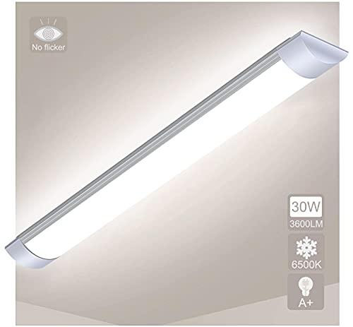 90cm LED Tubo Fluorescente 30W, Lampara Super Brillante 3600 LM Lámpara, Luz blanca 6500K Luminaria de Taller Plafón Pantalla Led Luz de Techo para Oficina Garaje Supermercado Gimnasios Balcón