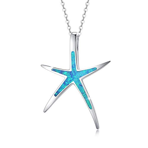 Cuoka Starfish Necklace, 925 Sterling Silver with Opal, Hawaiian Nautical Pendant, Daughter of The Sea Theme, Starfish Jewelry Gifts for Women with Gift Box-Blue
