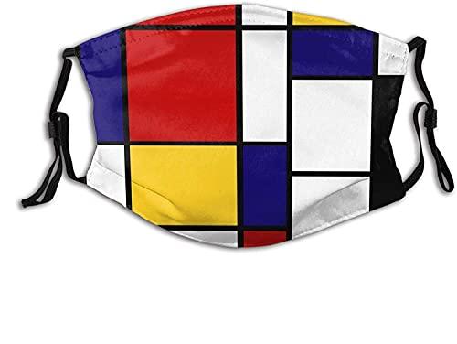 Artístico Mondrian Estilo Color Composición Rojo Boca Cubierta Adultos Niños Cara Cara Cubierta de la Boca Pañuelo al aire libre Reutilizable Bufanda Decoración de la Cara