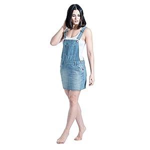 Short Denim Bib Overall Pinafore Dress Skirt