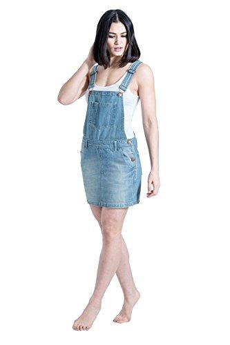 USKEES Kurze Denim Latz Kleid - Aged Blue Damenmode Latzhosenkleid CICELYAGED-10