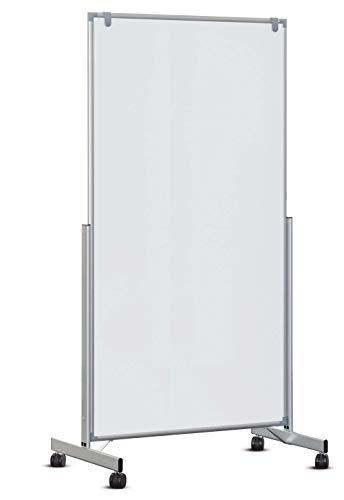 Whiteboard mobil MAULpro easy2move, 6339684, magnethaftend und beschreibar, weiß, beidseitig, auch als Stellwand nutzbar (100 x 180)