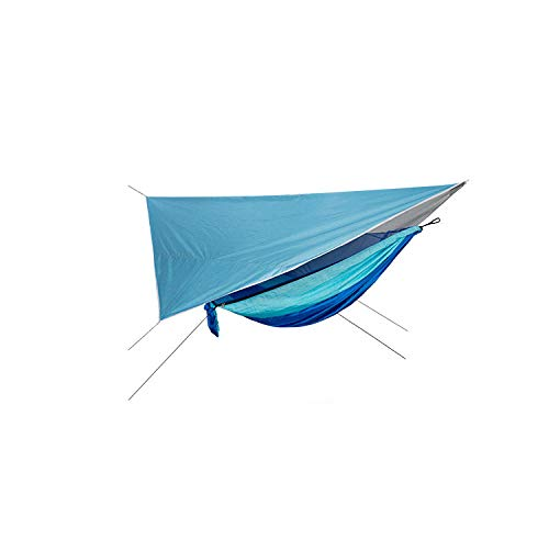 LightweightDoubleWaterproof Tarp with Awning + Storage Bag + Straps,300kg Load Capacity (290x140cm) Blue Hammock Lounger for Backpacking, Beach, Hiking, Sleeping