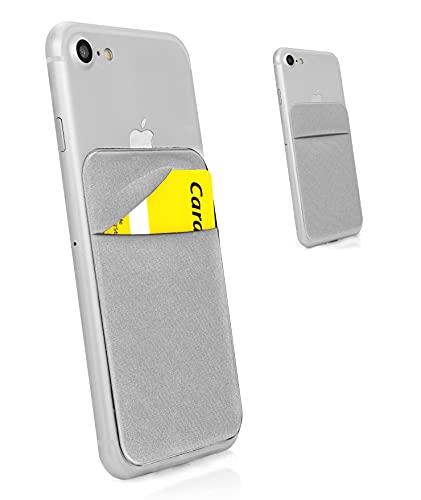 MyGadget Porta Tarjetas de Crédito Adhesiva con 1 Bolsillo para Móvil - Tarjetero Adhesivo Universal - Funda Cartera Elástica con Bloqueo RFID - Argento