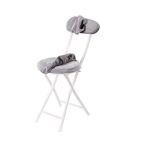 Topfun Folding Chair 17 inch Lightweight Metal and Resilience Sponge Pad Round Stools 300lb Capacity Foldable Fabric Chair for Dorm Rec Room with Washable Cloth Cover Grey with Backrest