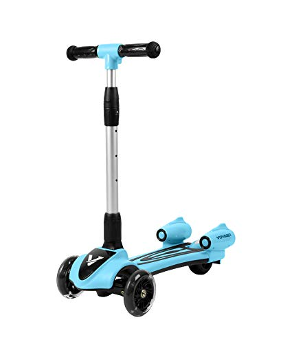 Voyager Streamer Adjustable Height Three Wheel Kick Scooter | Fun Outdoor Toys for Boys & Girls, Easy Steering, LED Light Wheels, Light Up Mist, Sound Effects
