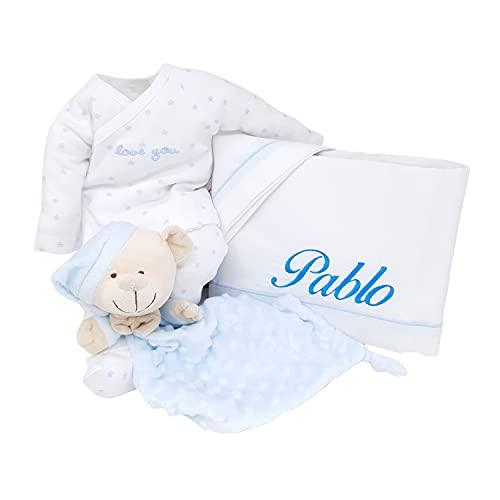 Mi Sueño Mabybox – Canastilla para recién nacido personalizada con set de pijama para bebé, doudou y sabanas de cuna con nombre del bebé – Tu regalo para bebé personalizado con su nombre. (Azul)