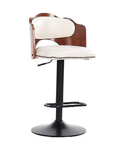 Taburetes de barra de cocina - Taburete de barra giratorio de 360 grados con asiento de cuero PU con respaldos de madera maciza, sillas de mostrador de estilo retro industrial con reposapiés de me