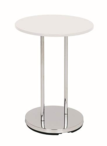 Haku Möbel 33360 Table Basse d'Appoint Tube d'Acier Chromé/Blanc