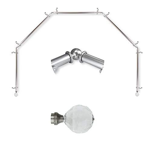 """A&F Rod Décor - Sparkle 13/16"""" 5-Sided Bay Window Curtain Rod 28-48 inch (Each Side) - Satin Nickel"""
