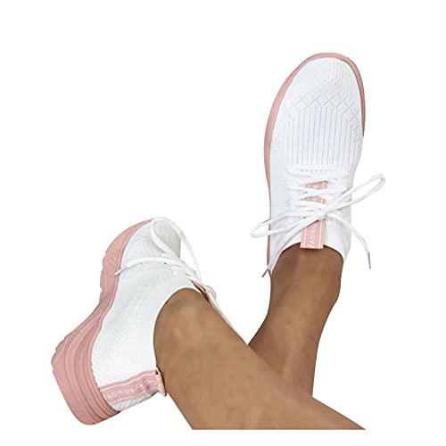 Dasongff Zapatillas de correr para mujer, zapatillas de senderismo, para exteriores, transpirables, antideslizantes, monocolor, zapatillas para correr, para el tiempo libre, con cordones, talla 37-42
