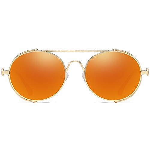 MGWA Gafas de sol con marco de personalidad, estilo casual, estilo salvaje, material de metal, marco dorado, azul, naranja, rojo, lentes para hombres ...