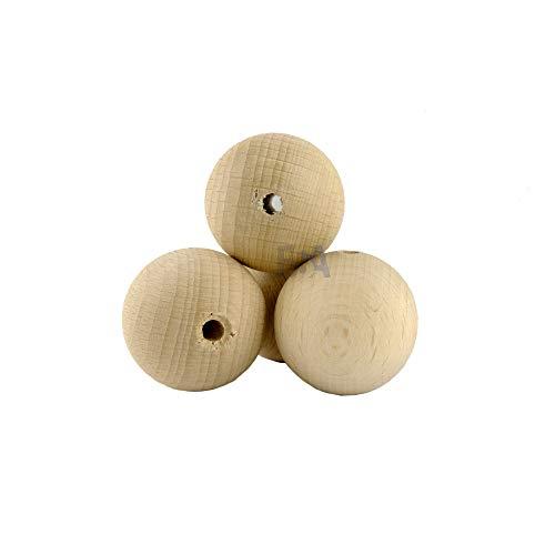 For Forest 10 Sfere di Legno 35mm con Foro 5mm Palline Legno 35 mm bucate 5 mm Colore Naturale Grezzo Palle Perline Non verniciate forate bucate