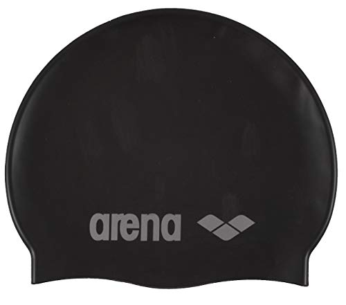 Arena Classic Youth Silicone Unisex Swim Cap for Boys and Girls, Black / Silver, One Size