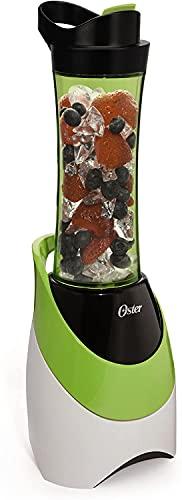 OSTER Blend Active Mini Frullatore, 250 W, Bicchiere da 600 ml Trasportabile, Bianco/Verde/Grigio