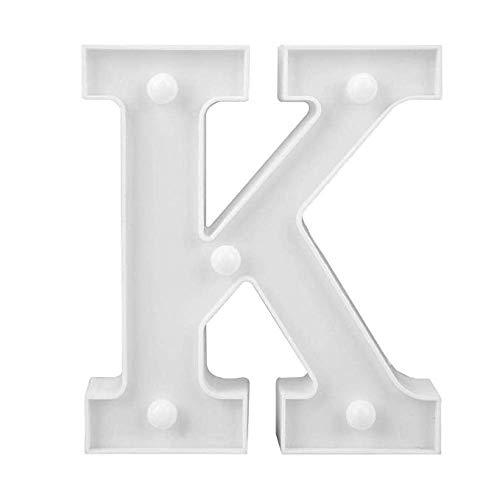 LED Deko Buchstaben - 22 cm A-Z - mit warmen Licht - Lampe beleuchtet Hinstellen Hochzeit Schriftzug Wort Love Home Batterie Lechtdeko Alphabet Ja Liebe Romantisch Wohnzimmer Bar Leuchtbuchstaben (K)