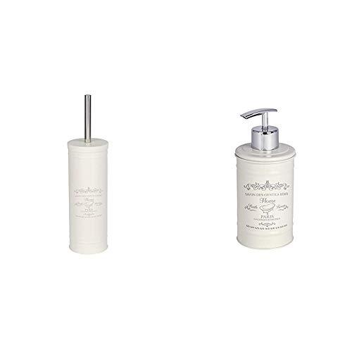 Wenko 22517100–Scopino per WC Home Porta Scopino, Acciaio, Beige, 9x 9x 37.5cm & 22516100Dispenser Sapone in Home Dispenser di Sapone Liquido, capacità 0.350L, Inox, Beige, 7x 8.5x 16.5cm