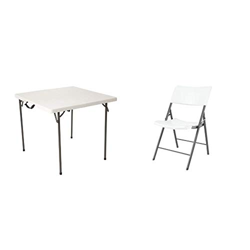 Lifetime 80273 34 in (86 cm) Square Fold-In-Half Table, White Granite with Set of 4 Chairs