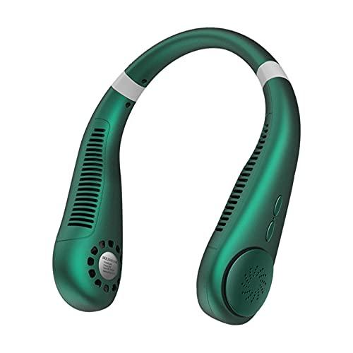 首掛け扇風機 羽なし 携帯扇風機 3段階風量 リーフレスハンギングネックファン 軽量 静音 9000mAhポータブルファン充電式バッテリーUSB充電 ( 緑)