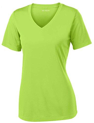 Joe's USA Women's Short Sleeve Moisture Wicking Athletic Shirt-LimeShock-2XL