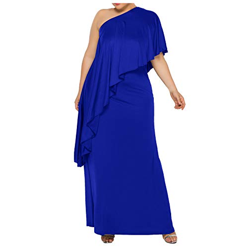 FORUU Plus Size Women's Summer Dresses 2021,Fashion Solid Color Short Sleeve Strapless Ruffled Long Evening Party Dress Maxi Dresses Off Shoulder Dress for A Wedding Elegant Dresses Blue