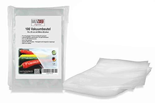 100 Vakuumbeutel 16x25 cm (Vakuumrollen) für Lebensmittel | Vakuumier-Folie | Sous-vide | Profi-Qualität für Folienschweißgeräte