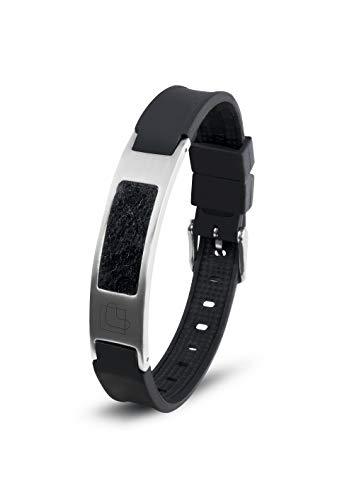 Lunavit Magnetschmuck Aroma Armband aus Silikon und Edelstahl für Damen und Herren, schwarzes sportliches Powerarmband, längenverstellbar