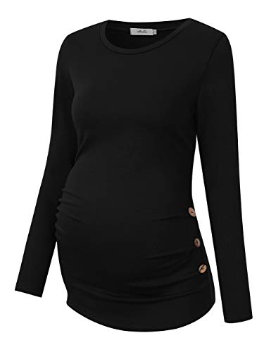 Coolmee Maternity Shirt Side Button and Ruched Maternity Tunic Tops Maternity Long Sleeve T-Shirts (S,Black-Long)