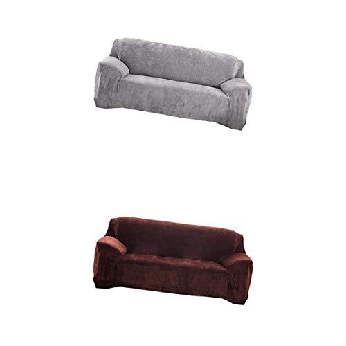 Fenteer 2 Piezas Thicken Stretch Couch Fundas para Sofá Silla Asiento Protector de Muebles Elegante Funda de Sofá para Muebles