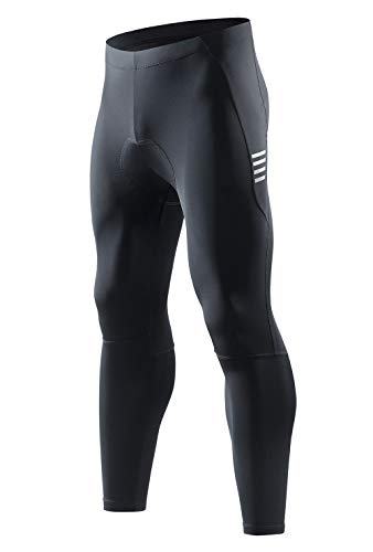 Santic Men's Cycling Bike Pants 4D Padded Compression Long Riding Bicycle Tights (Black-D092, US XX- Large=CN XXXX-Large)