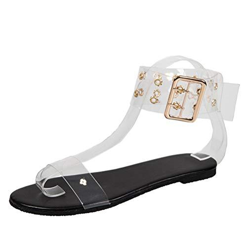 Sandalias de Mujer Gladiador Plano Verano Mujer Zapatos de Playa con Punta Abierta Correas Anchas Romanas Correa para el Tobillo con Hebilla Conveniente de Metal