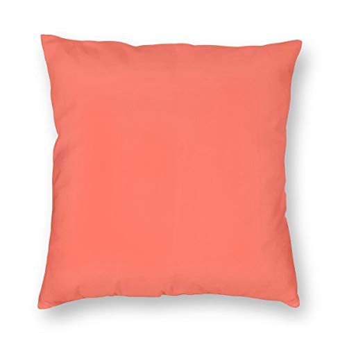 Funda de cojín de color coral sólido de 45 x 45 cm, cuadrada, de algodón, para decoración del hogar, para sofá, manta o almohada, de 45 x 45 cm