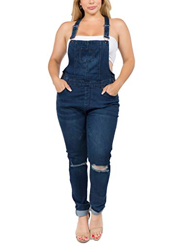 Love Moda Women's Plus Size Sexy Distressed Slim Fit Skinny Overalls with Spandex