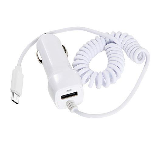 Haol Cargador En Espiral Rápido Y Rápido para El Teleférico, Cargador De Automóvil USB con Conector Inteligente Compatible con Microprocesador De Tipo C De iPhone,Blanco,Micro Connector