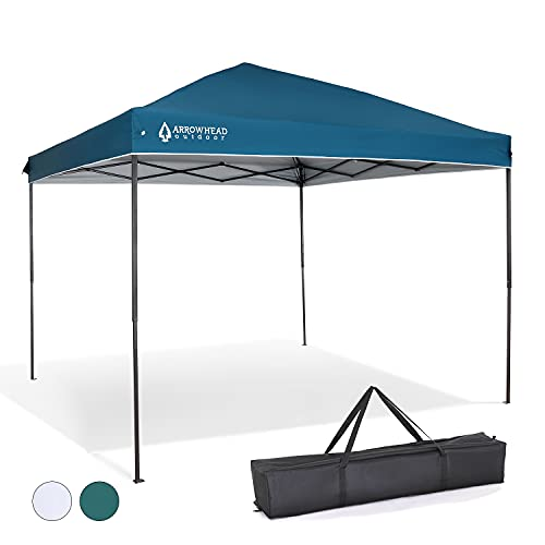 ARROWHEAD OUTDOOR 10'x10' Pop-Up Canopy & Instant Shelter, Easy One Person Setup, Water & UV Resistant 150D Fabric Construction, Height Adjustable, Carry Case, Guide Ropes & Stakes Included, USA-Based