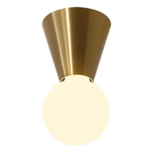 zlw-shop Wall Lamp Conical Suction Wall Dual-use Wall Lamp Plating Brushed Copper Lamp Holder Simple Bedside Lamp Corridor Aisle Ceiling Lamp Creative Entry Door Lamp Wall Light