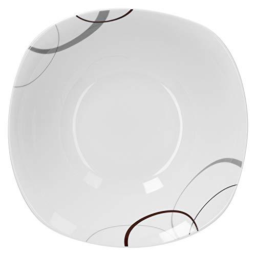 Van Well   Servierschale Palazzo 1.25L   quadratische Buffet-Schale   XL-Servierteller für Salat & Dessert   abstraktes Porzellan-Geschirr   Gastro
