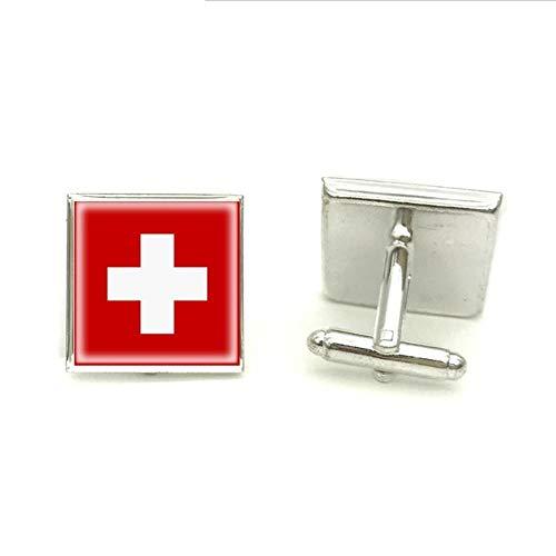 Cufflinks Schweiz Flagge Quadrat Manschettenknopf Manschettenknöpfe Silber Glas Foto Shirt Schmuck für Herren Manschettenknopf