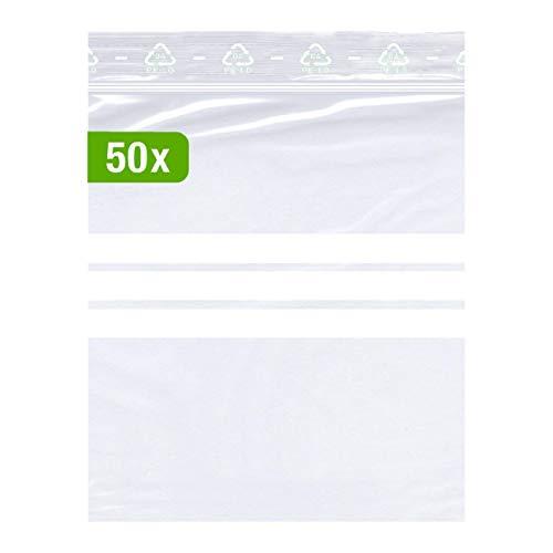 50 bolsas con cierre a presión extrafuerte, 160 x 220 mm, se puede escribir, DIN A5, 90 micras de grosor, transparentes, aptas para alimentos, sin presión, calidad premium.