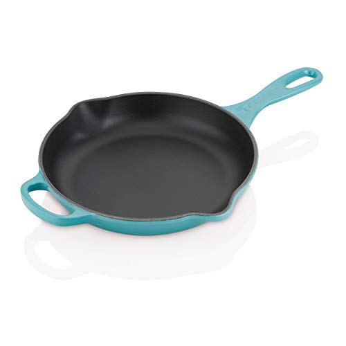 "Le Creuset Enameled Cast Iron Signature Iron Handle Skillet, 9"" (1-3/8 qt.), Caribbean"