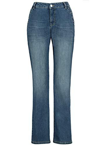 GINA LAURA Damen Jeans Tara, Quernaht, Ziernieten, Weite, gerade Form Blue Denim 40 750603 92-40