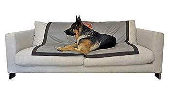 Couverture de protection pour canapé et fauteuil pour chien - TISSU TECHNIQUE ANTIBACTERIEN @PureTex, DESINFECTANT, imperméable, non allergique 140*140 cm, Beige gris