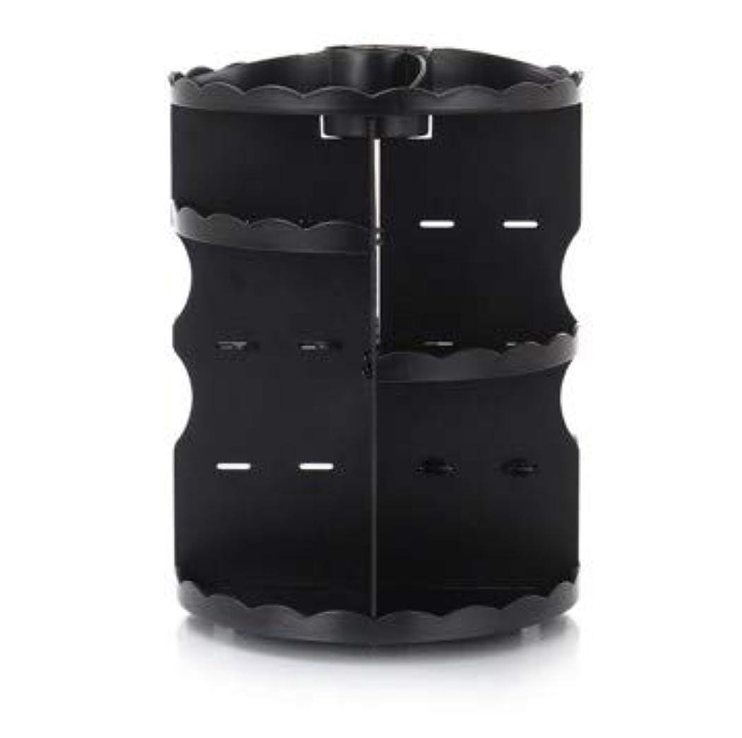 ウィンククランプコンプライアンスラウンド卓上回転口紅フレーム透明アクリル化粧ケース浴室スキンケアプラスチック収納ボックス (Color : ブラック)
