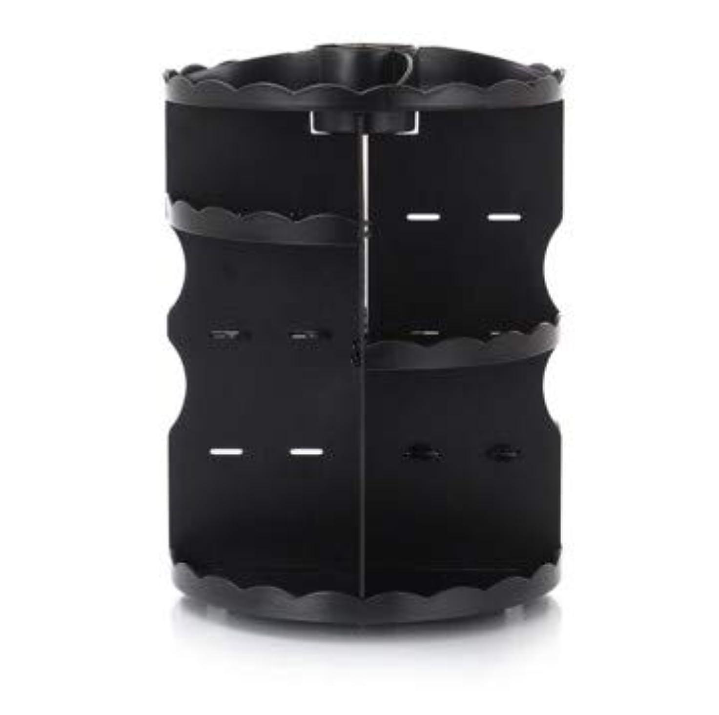 フィットネス全く更新ラウンド卓上回転口紅フレーム透明アクリル化粧ケース浴室スキンケアプラスチック収納ボックス (Color : ブラック)
