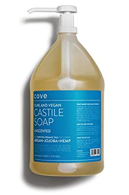 Cove Castile Soap Unscented - 128 oz / 1 Gallon - Includes Pump - Organic Argan, Hemp, Jojoba Oils