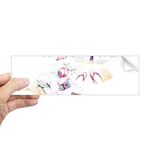 DIYthinker Strand Zee Bumbersull Aquarel Schilderij Rechthoek Bumper Sticker Notebook Window Decal