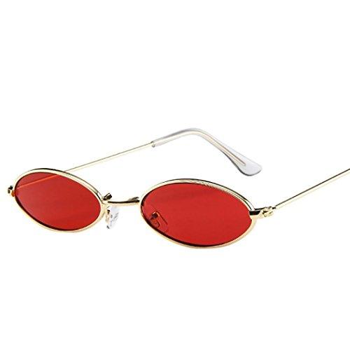 Huhu833 Mode Unisex Retro kleine ovale Sonnenbrille Metallrahmen Shades Eyewear Reise Sonnenbrille (Rot)