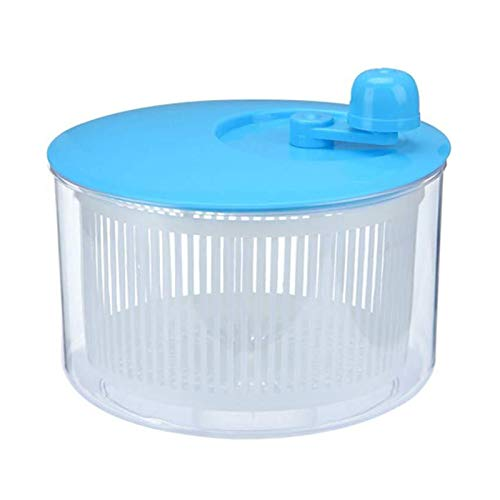 ASY Salad Spinner Vegetable Dryer Leaf Lettuce Dryer Drainer Fruit Wash Clean Basket Plastic Durable Manual Lettuce Washer For Fruit Food Kitchen (Color : Blue)